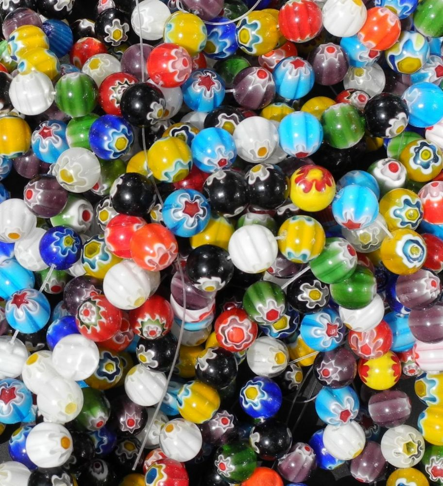 32 x 12mm Millefiori Glass Beads